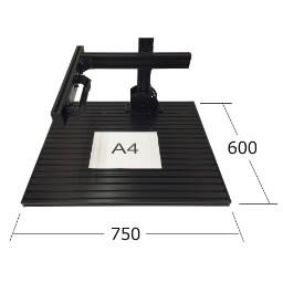 画像処理・外観検査用カメラ作業台・冶具固定。画像処理環境ドットコム社製7560ベースプレートのA4用紙対比のサイズ感。