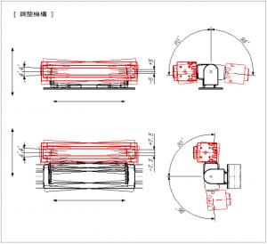 ライン照明、フラット照明、バー照明、リング照明の固定、角度調整説明用調整機構図面