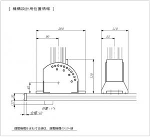 ラインスキャンカメラ固定角度、LED照明固定角度のステップ可変で必要な機械設計者用位置情報図面