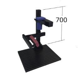 工業用カメラ固定治具、検査用LED照明レイアウト時のベースプレート。画像処理環境.com社製6048主柱高さ説明図
