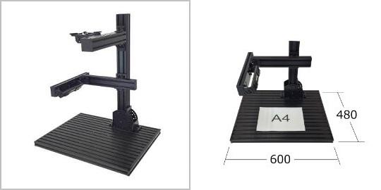 製品ラインナップ:検査台 FLEX6048の外観、サイズ感。角度調整、角度可変を搭載したコンパクト、アルミフレーム構成の画像処理専用スタンド治具
