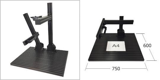 製品ラインナップ:検査台 FLEX7560の外観、サイズ感。角度調整、角度可変を搭載した画像処理専用スタンド治具