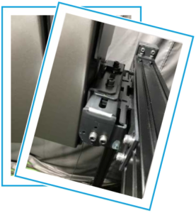 お客様からの商品運用写真。FAカメラ画像検査。Flex照明固定シャーシを応用し位置可変・角度調整としたFLEX検査台。