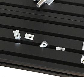 後入れナットで自由な位置に固定できる検査台。ラインセンサーカメラ対応の強固なベース盤。