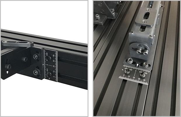 スケール60の使用例。固定溝をまたぐ縦設置が可能です。