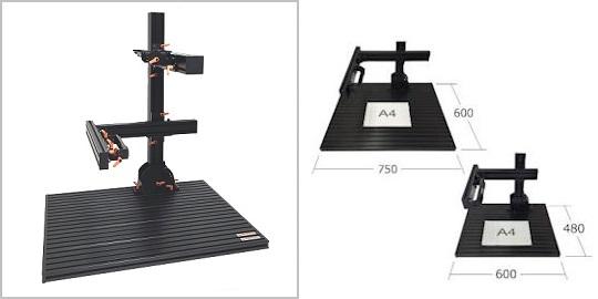 製品ラインナップ:検査台 FLEX F-ONEの外観。ワンタッチで角度調整、角度可変を可能にした拡張モデル、アルミフレーム構成の画像処理専用治具
